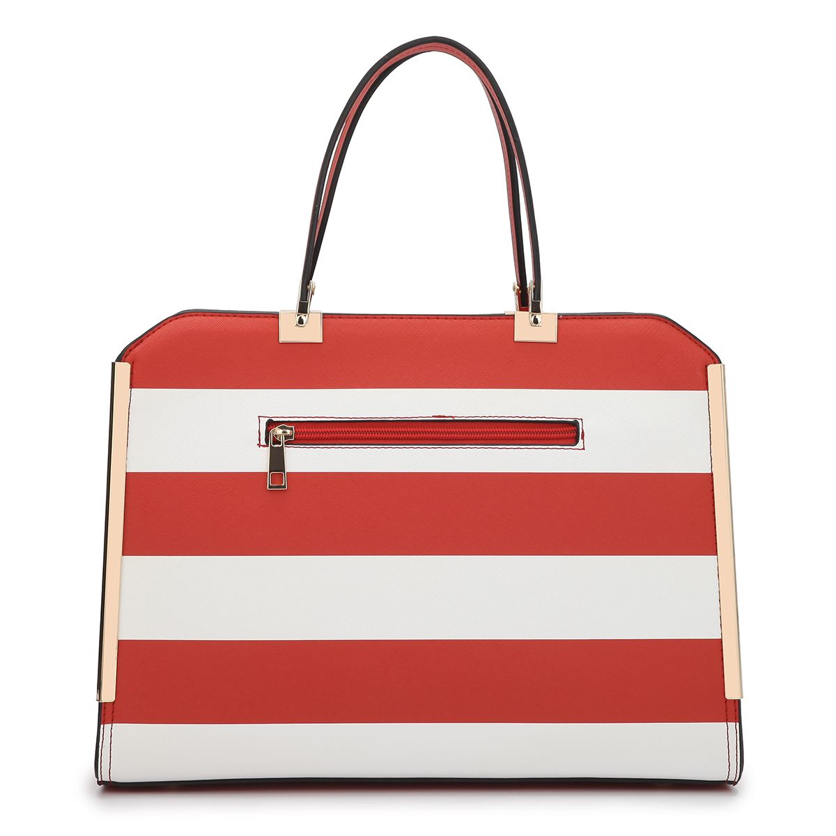 Dasein Rolled Handle Striped Faux Leather Briefcase