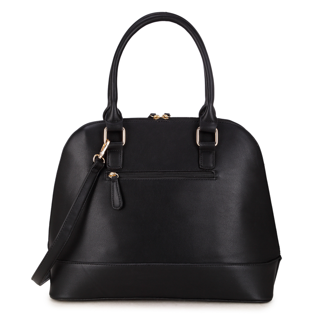 Dasein Round Leather Satchel with Semi Metallic Patch Design in Front
