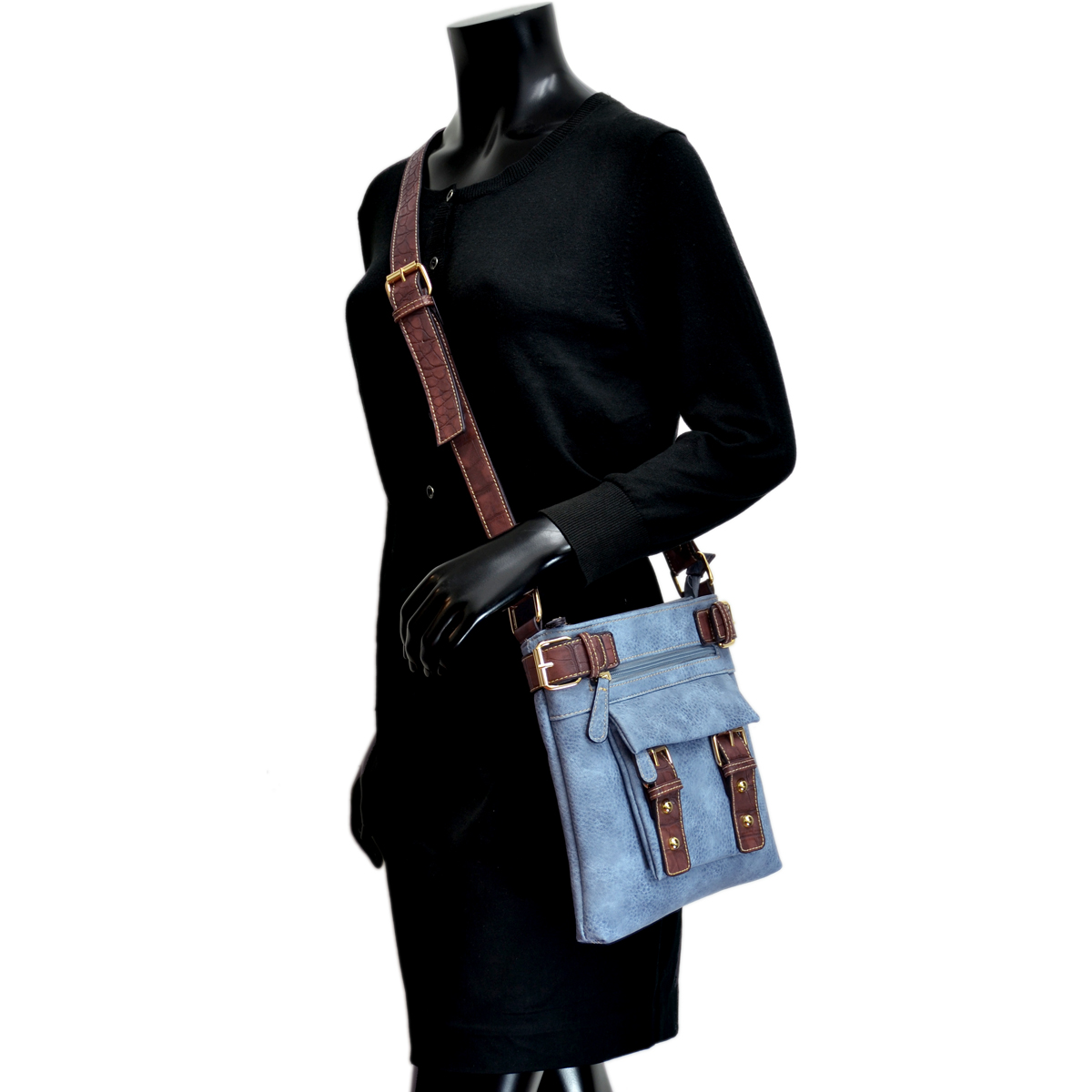 Soft Faux Leather Messenger Bag/ Crossbody