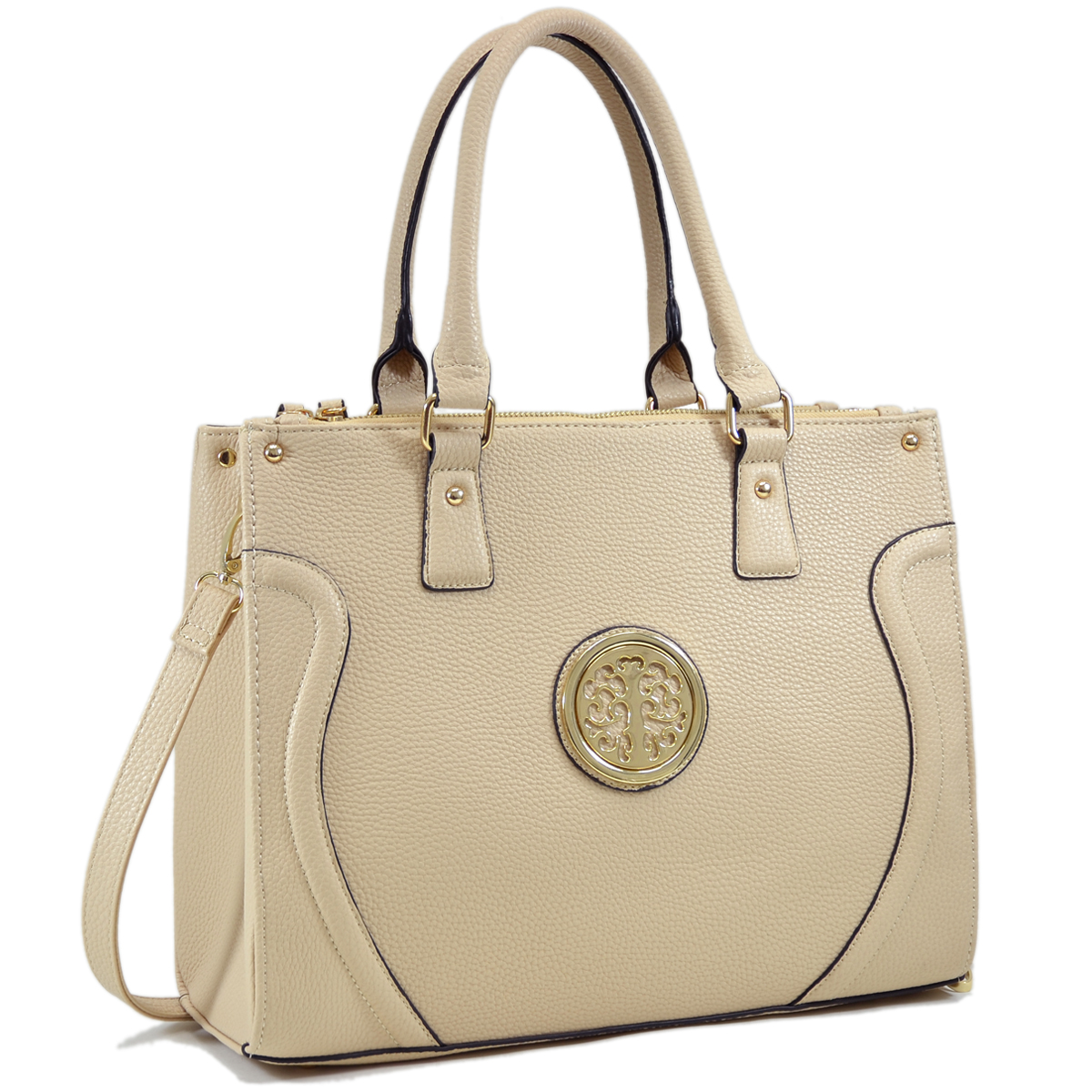Dasein Fashion Gold-Tone  Work Satchel