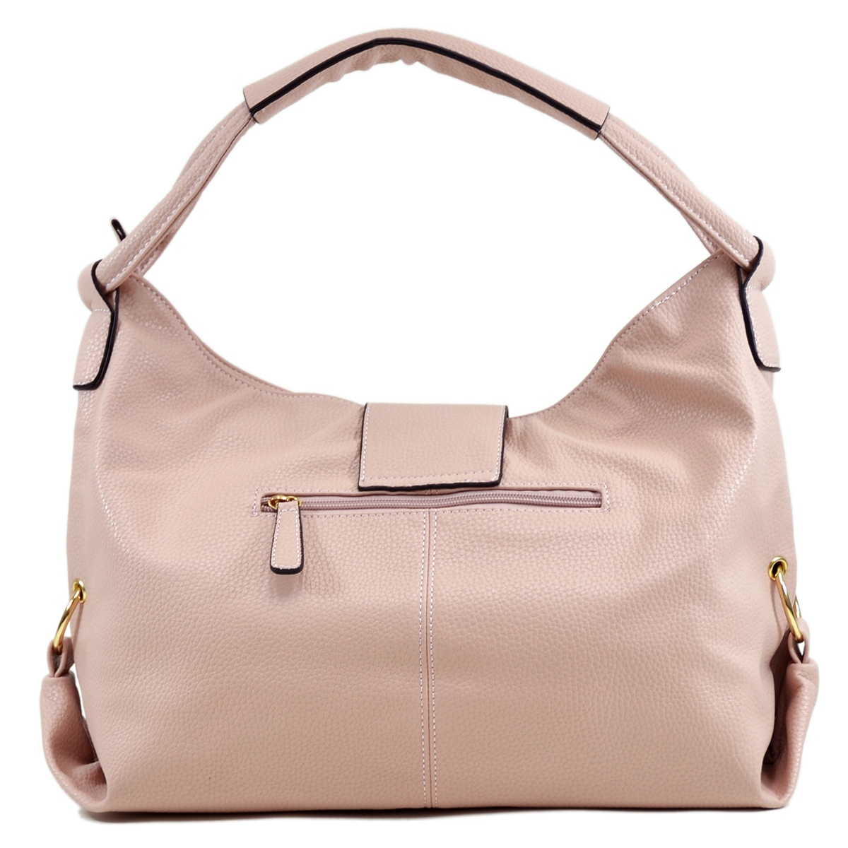 Dasein® Buffalo Leather Classic Hobo with Zippered Pockets