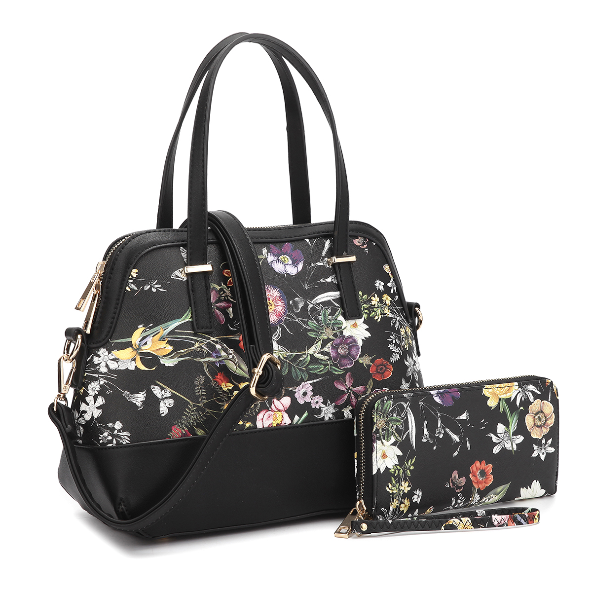 Dasein Floral Leather Satchel with Matching wallet