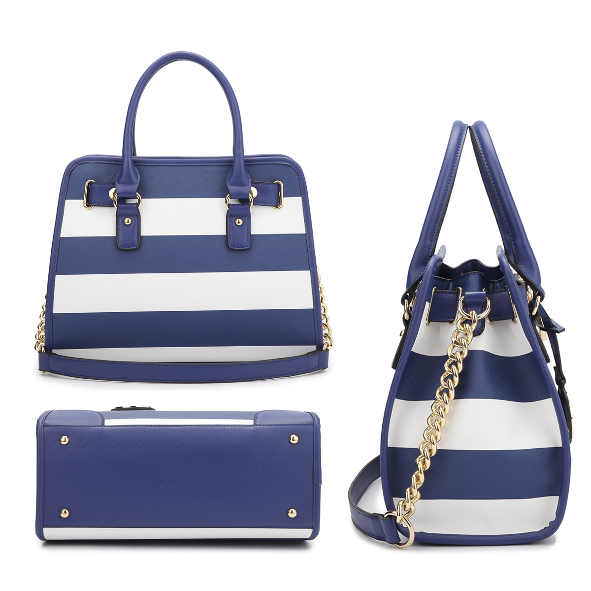 Medium Striped Leather Satchel with Matching Wallet