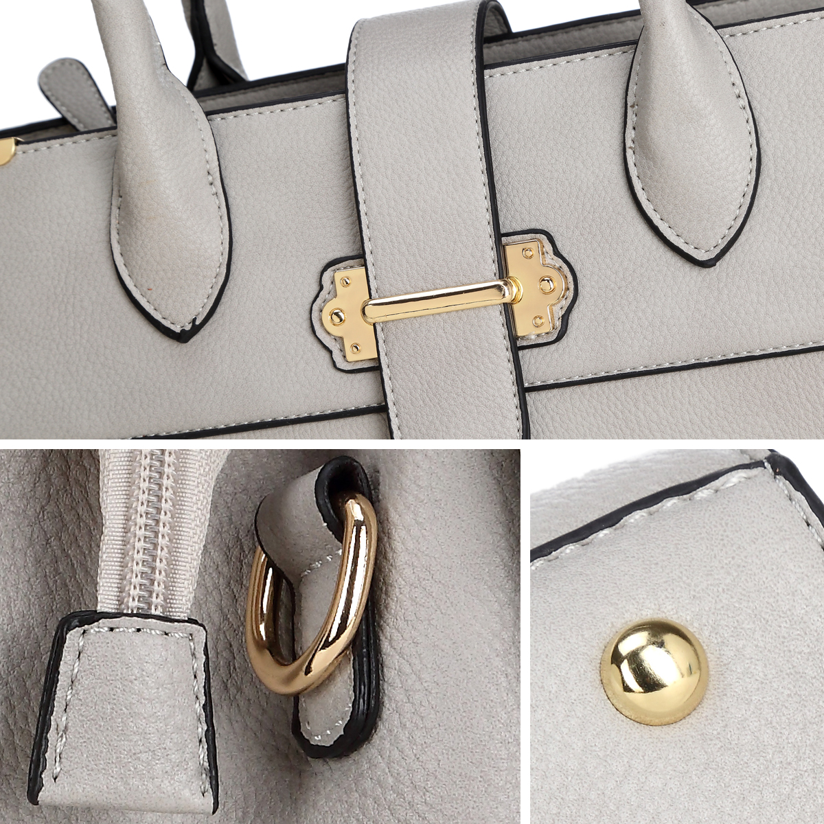 Dasein® Faux Leather Satchel with Snap Around Gold Belted Accent