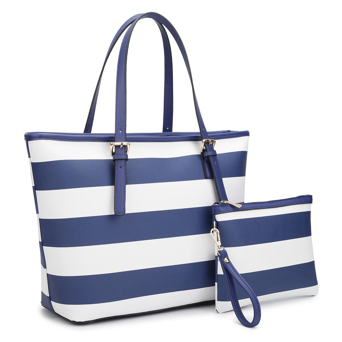 Dasein Large Classic Striped Tote with Free Matching Accessory Bag