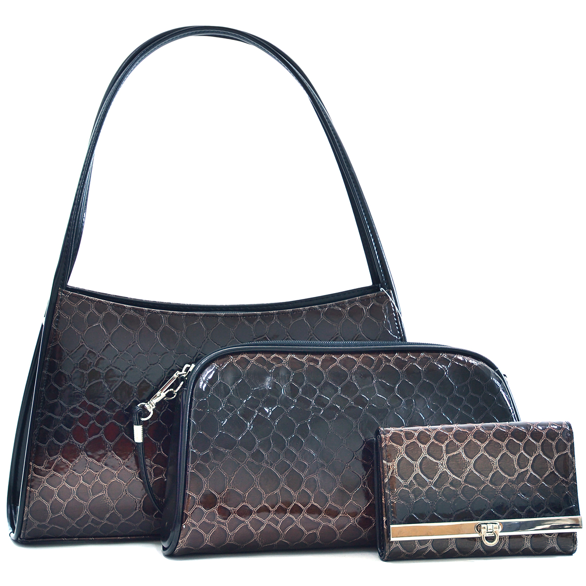 Dasein Women Classic Snake Skin Shoulder Bag with Free Matching Wallet