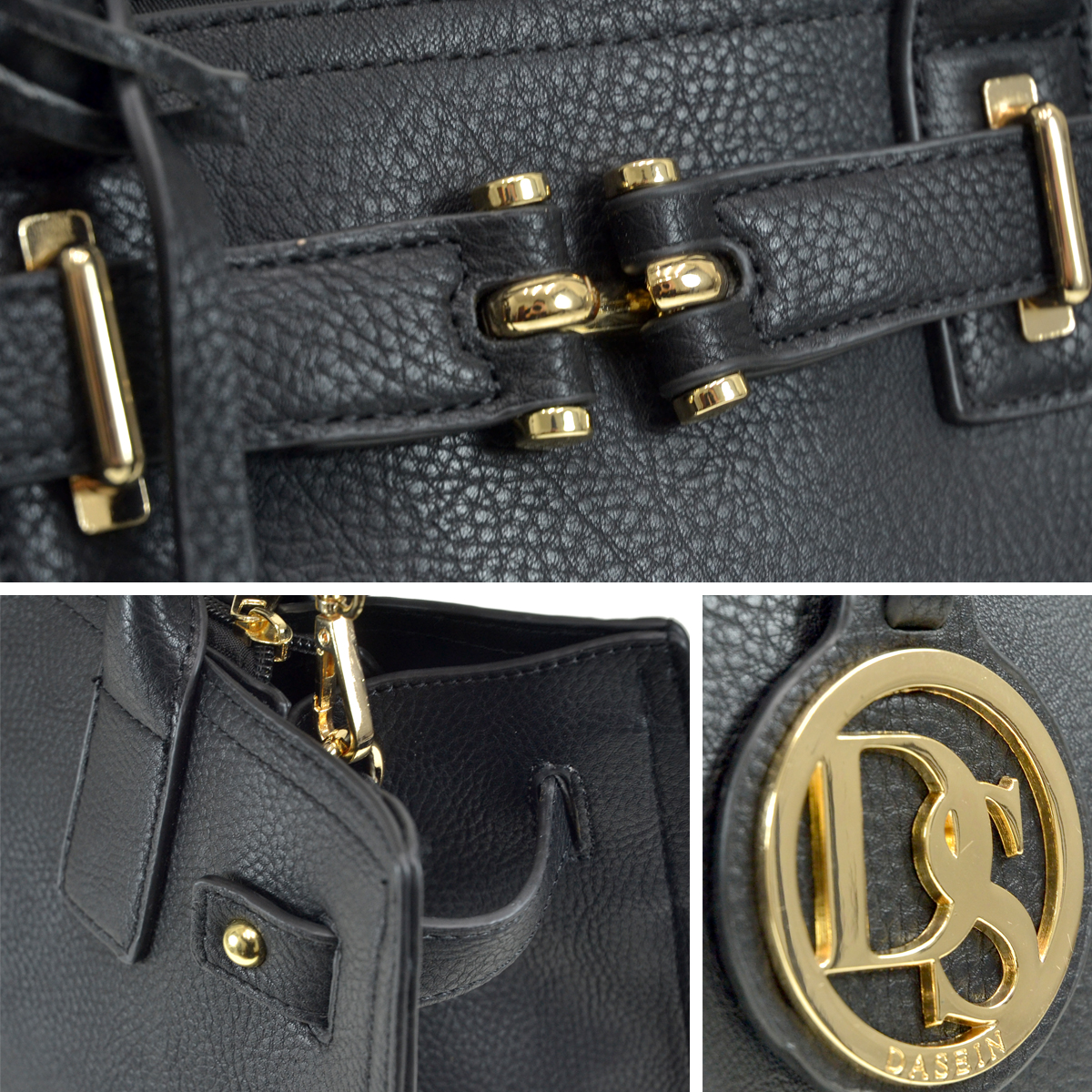 Medium Satchel with Decorative Front Belted Gold Plated Hinge