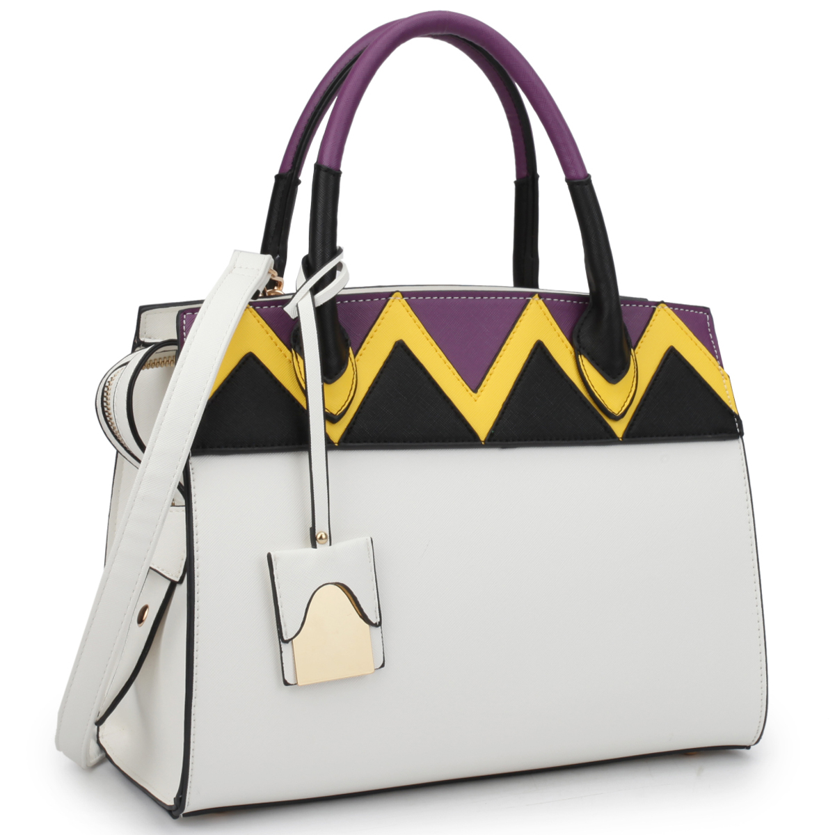 Dasein Medium Satchel Two Tone Body and Handle with Aztec Pattern Design