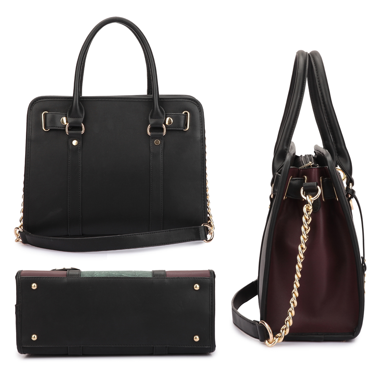 Medium Satchel Two Tone Snake Skin and Belted Lock Deco