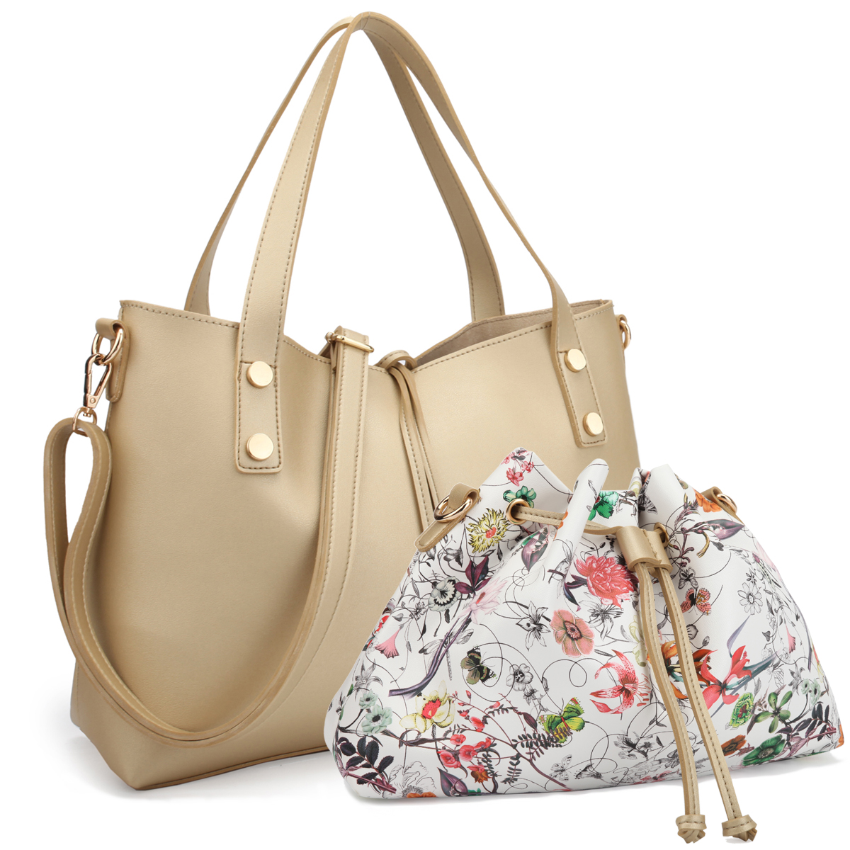 Dasein Faux Leather Soft Tote with Detachable Cross body Flowery Bucket Bag Inside