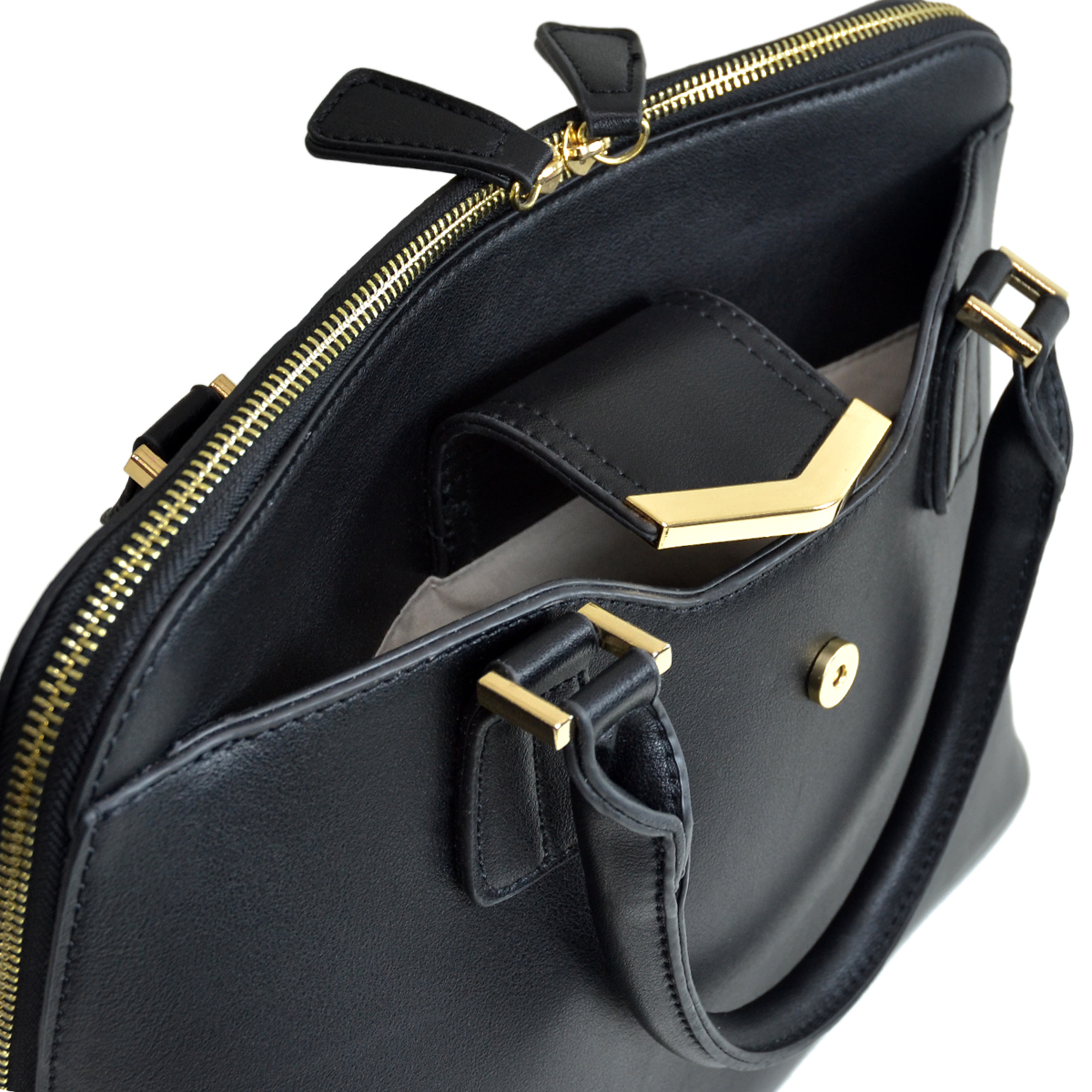 Medium Satchel with Decorative Front Gold Plated Hinge
