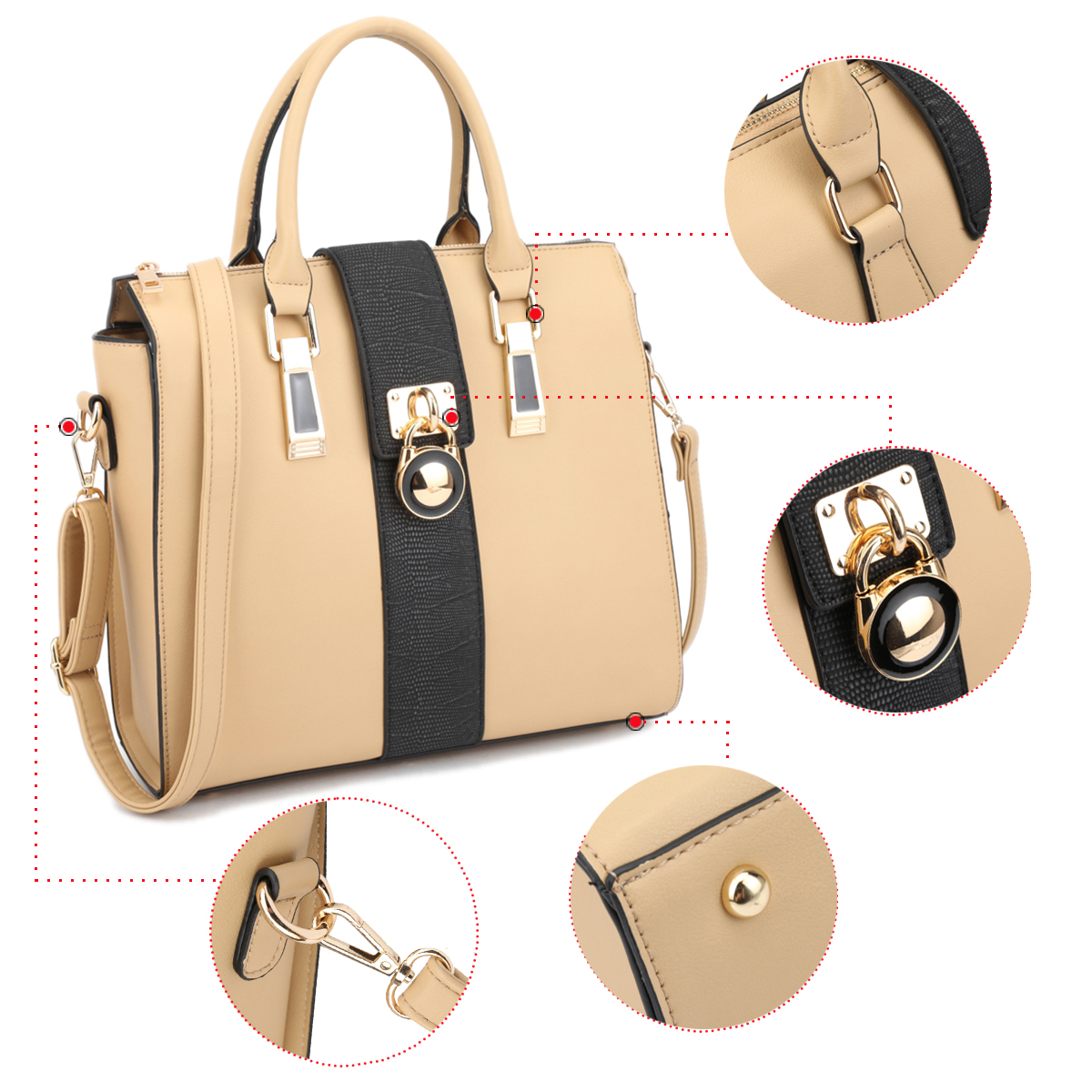 Dasein Two-Tone Faux Leather Medium Satchel with Lock Deco