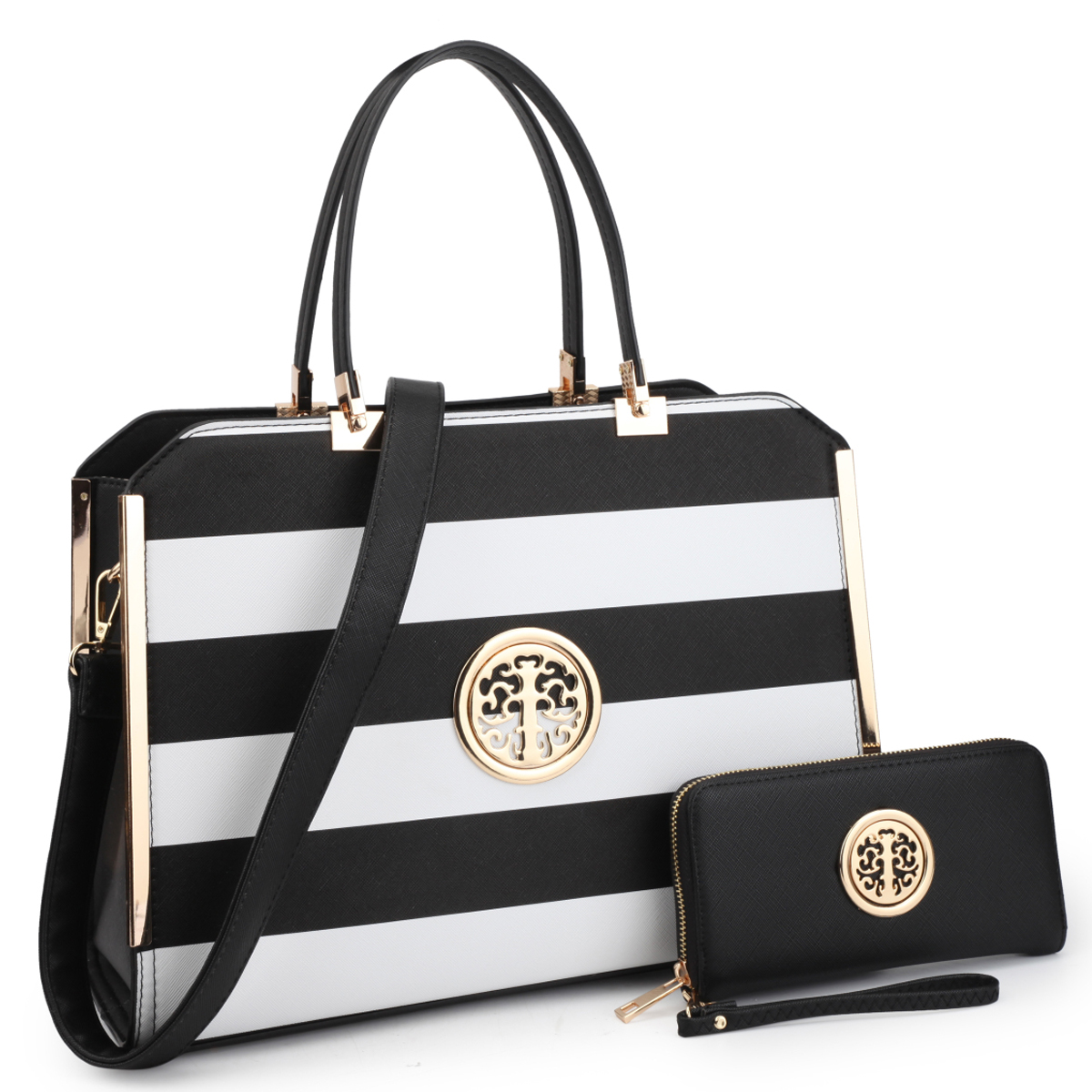 Dasein Striped Faux Leather Briefcase with Matching Wallet