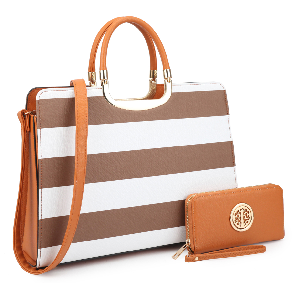 Patent Striped Briefcase with Matching Wallet