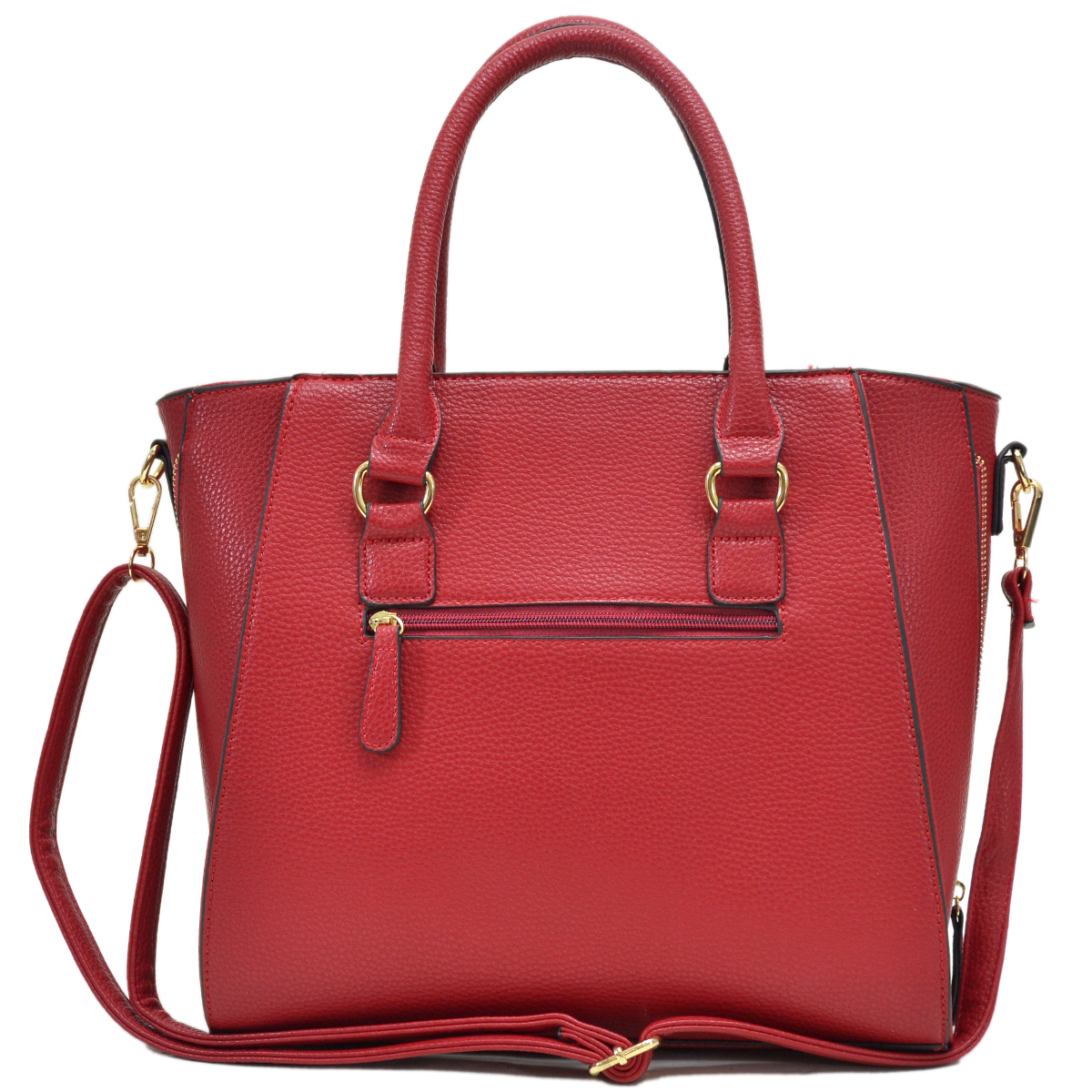 Dasein® Faux Leather Satchel with Side Zipper Decor