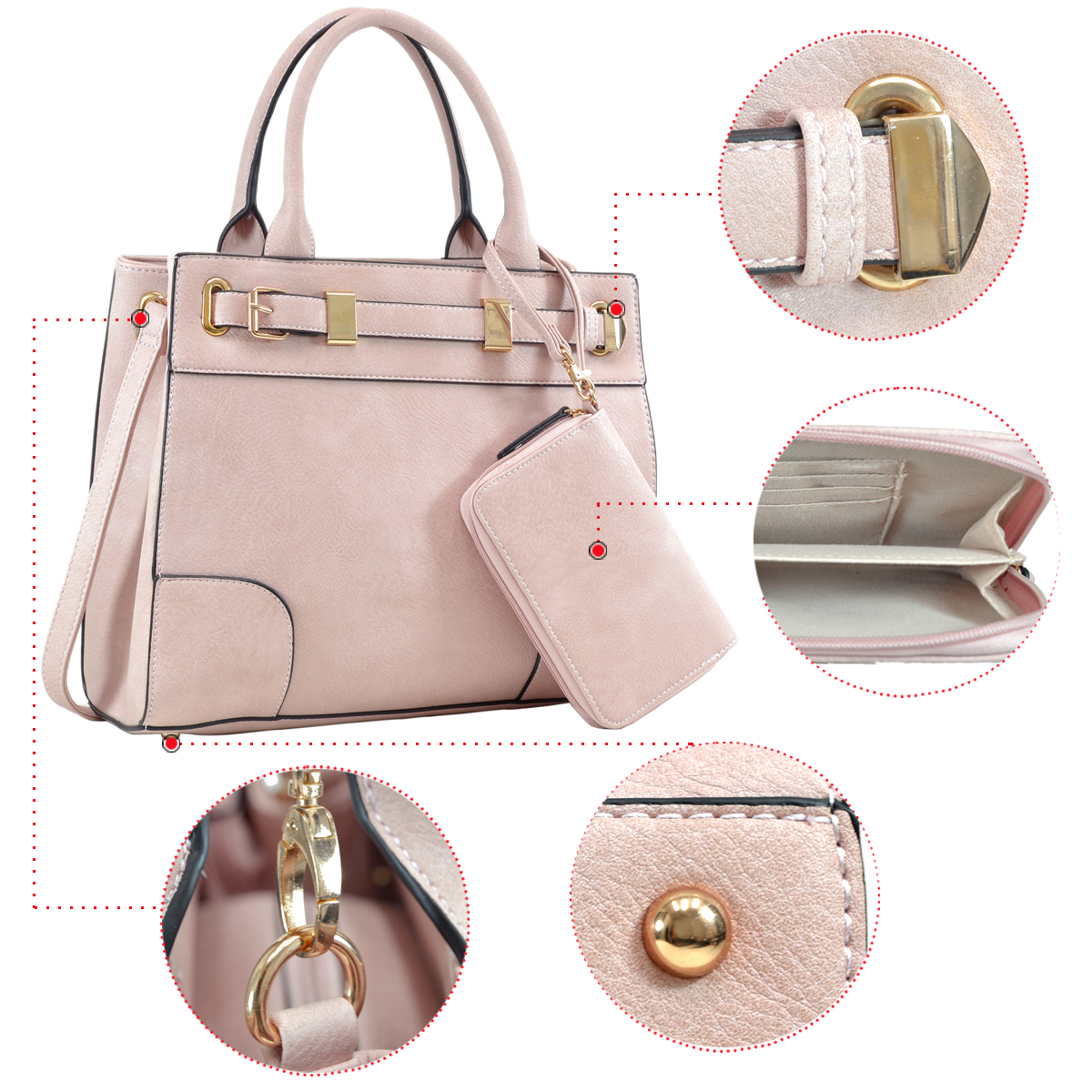 Medium Satchel with Front Belted Gold Plated Hinge and Detachable Matching Wristlet