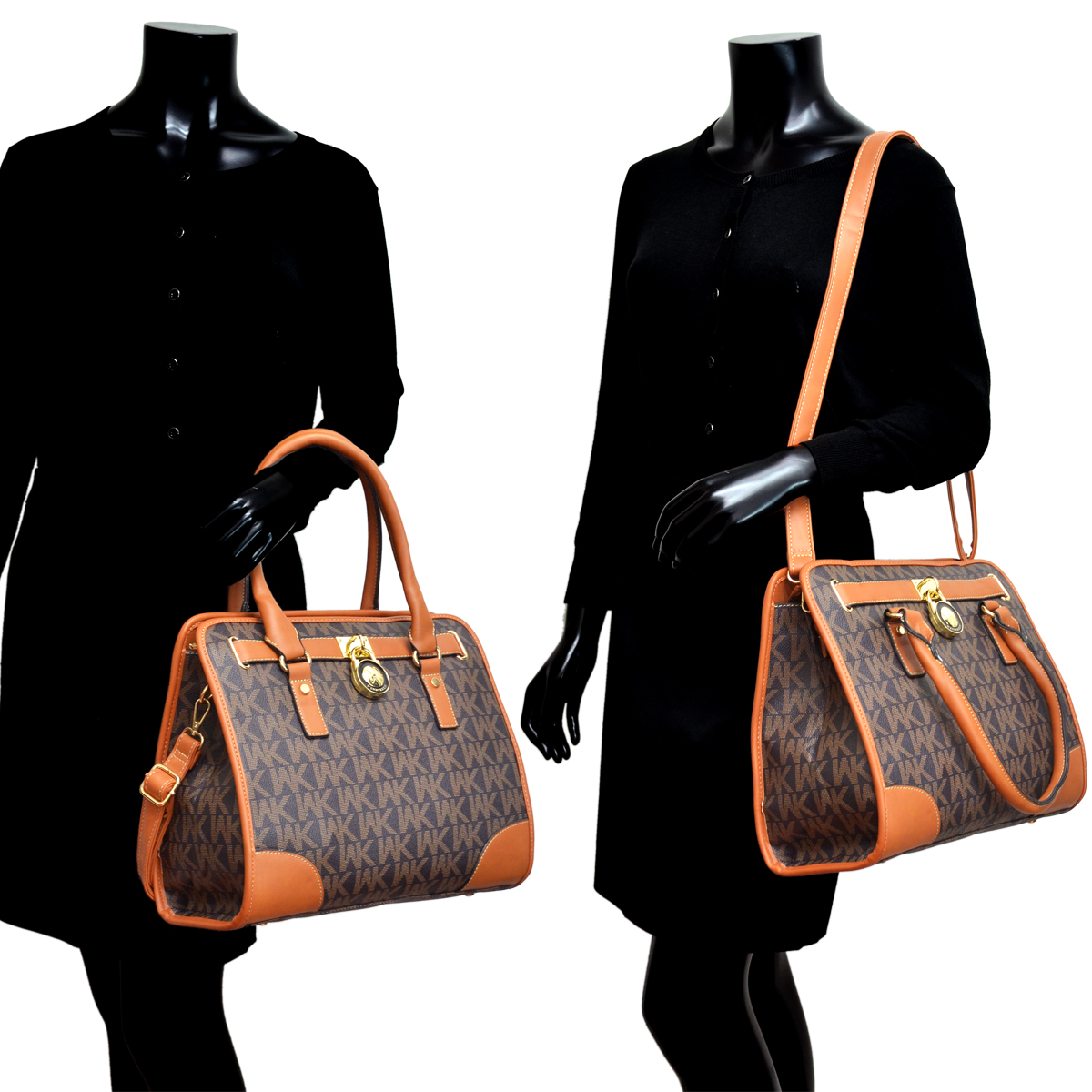 Medium Satchel with Front Lock Deco and Shoulder Strap