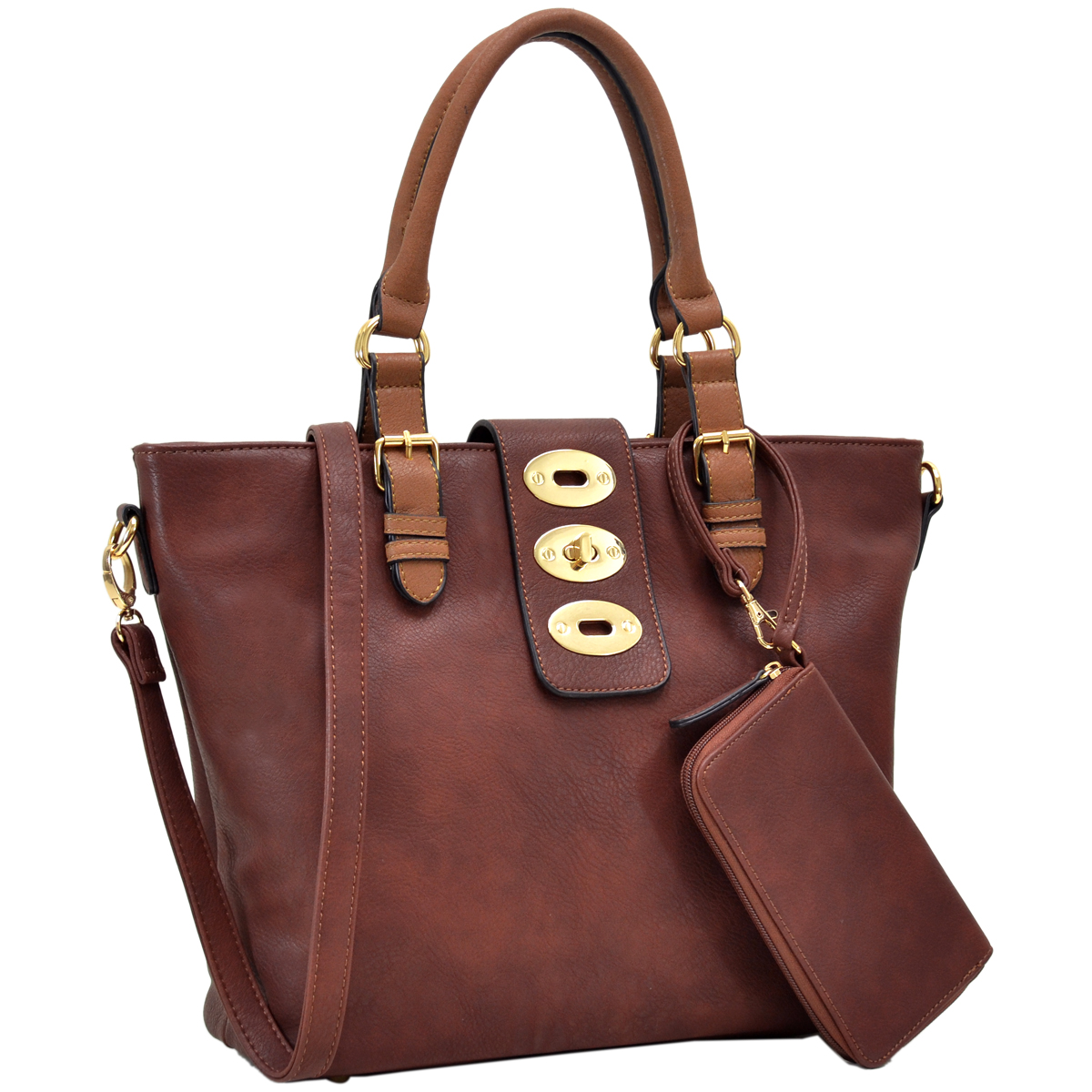 Dasein Fashion Faux Leather Work Tote with Adjustable Twist Lock and Matching Wristlet