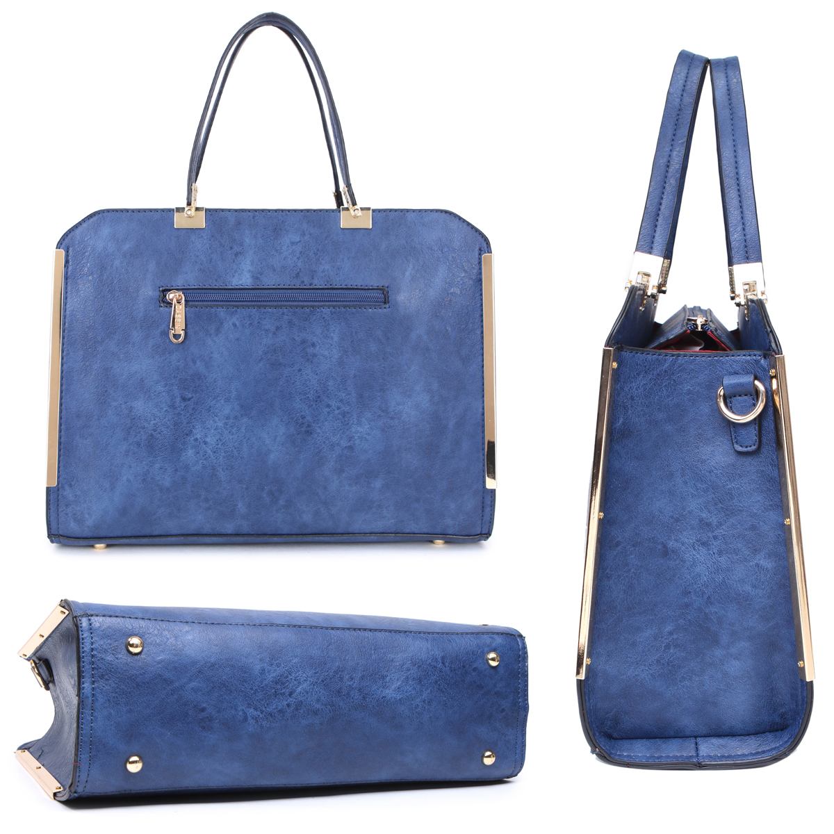 Dasein Faux Leather Briefcase with Matching Wallet