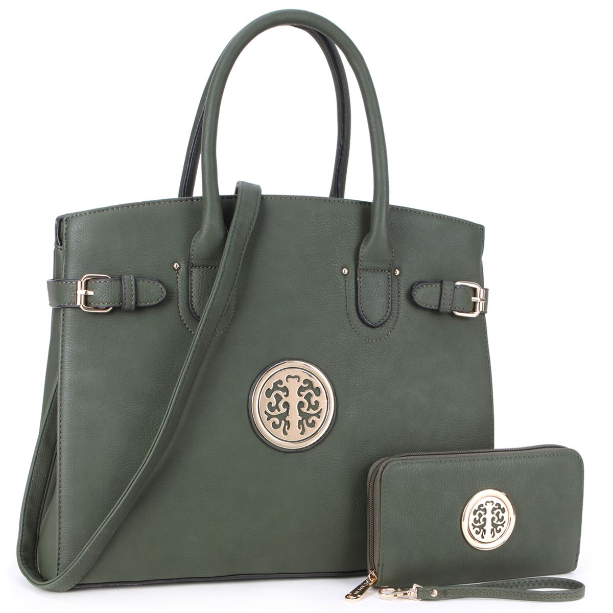 Dasein Faux Leather Satchel with Emblem and Side Buckle Deco and with Matching Wallet