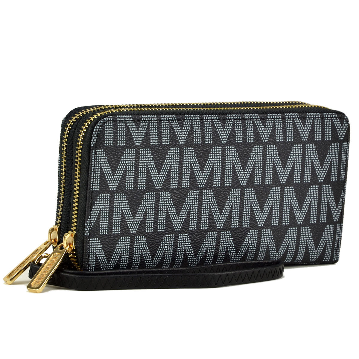 Monogram Logo Double layer Zip Around Wallet