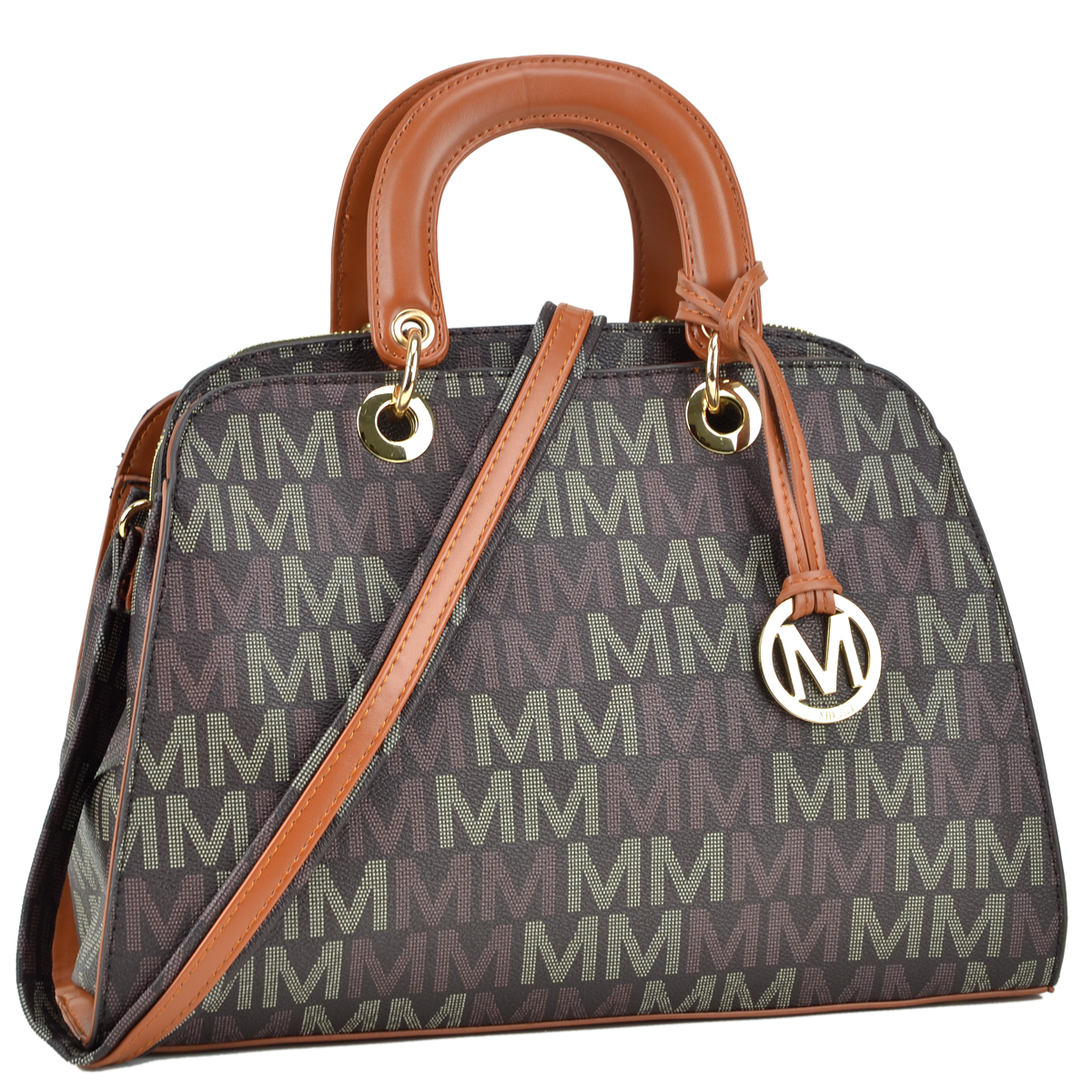 Monogram Logo Faux Leather Semi Dome Shape Satchel with Flat Loop/Round Handle