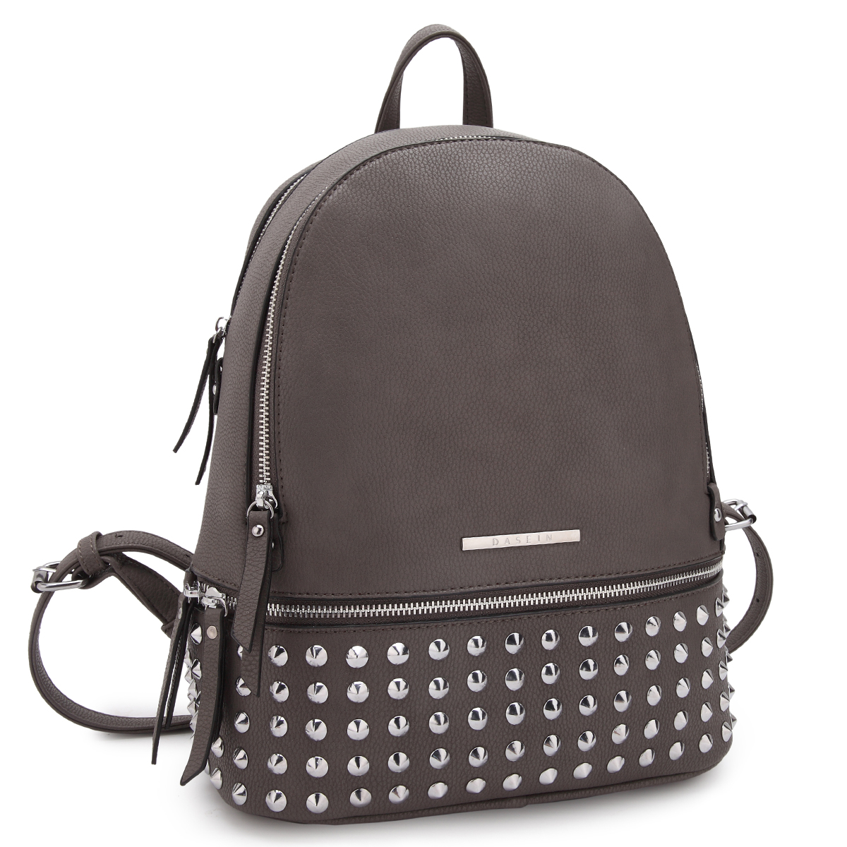 Dasein Medium Faux Leather Spiked Studded Backpack