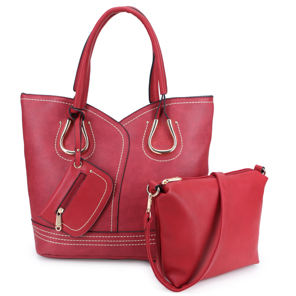 Dasein Classic Tote with Matching Pouch/Accessory Bag Inside, Dangling Mini Zip Coin Pouch and Horse Shoes Deco