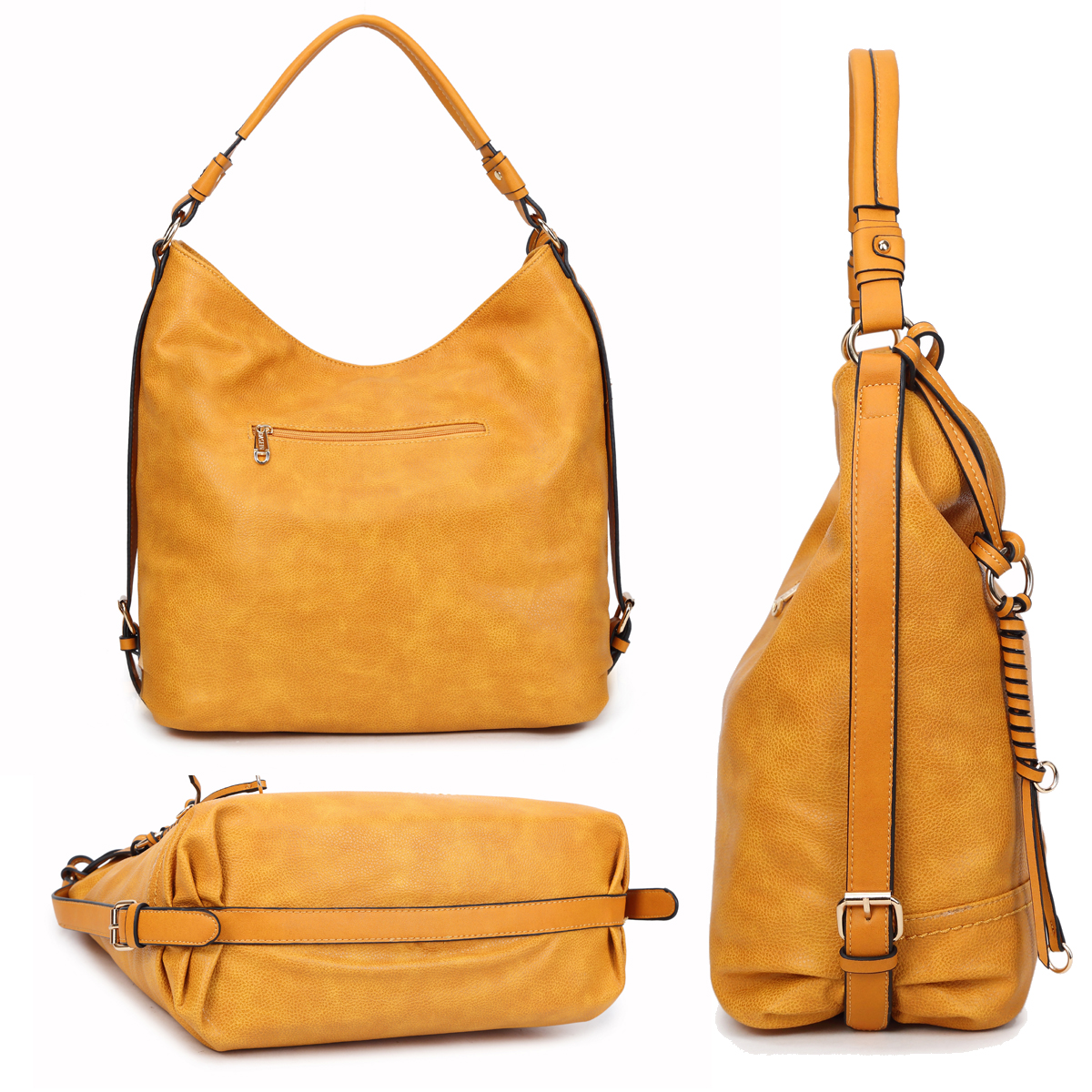 Dasein Soft Water Wash Faux Leather Hobo Bag/Shoulder Bag with Twisted/Braided wave strand deco