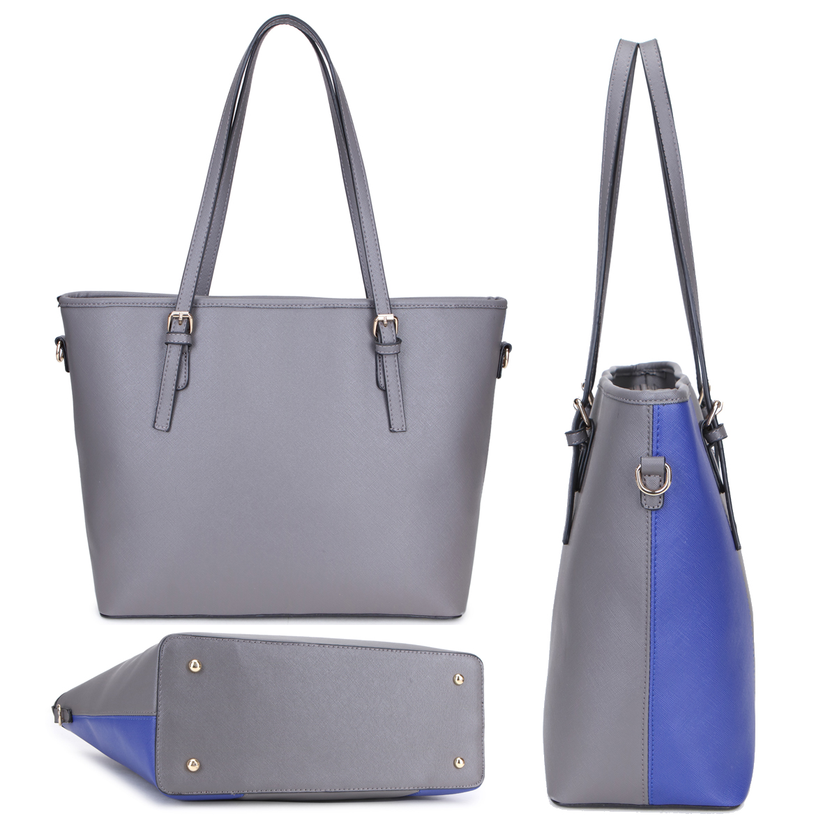 Dasein Large Classic Two Tone Tote with Free Matching Wallet
