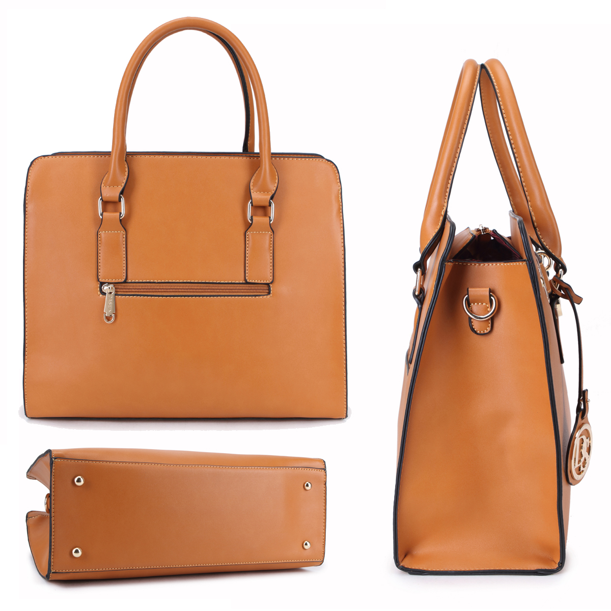Dasein Large Saffiano Leather Padlock Satchel with Matching Wallet