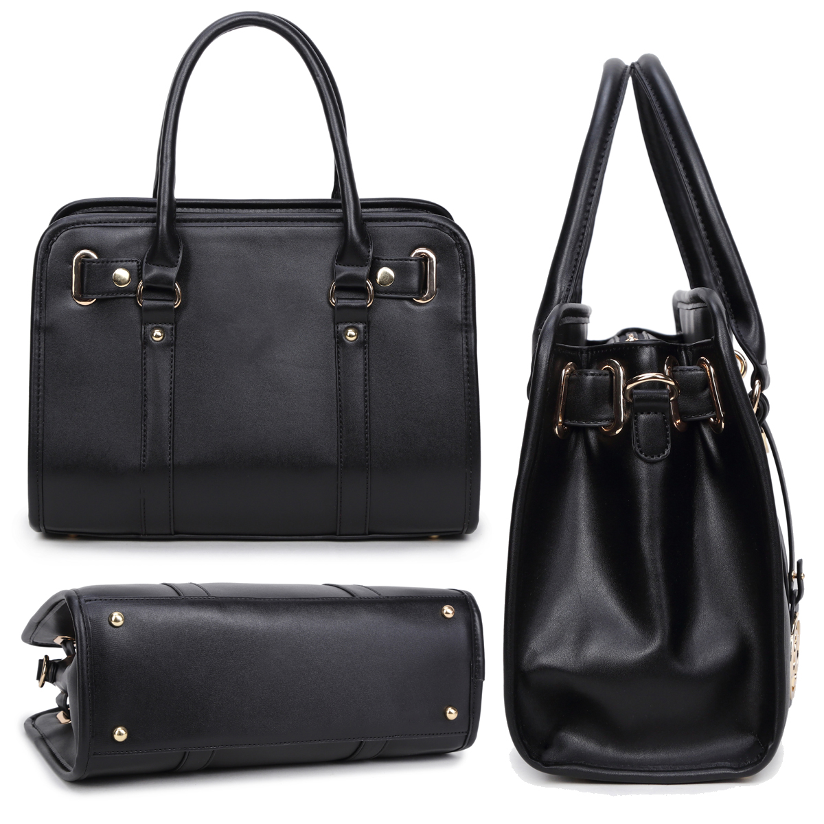 Dasein Medium Faux Leather Satchel with Matching Wallet