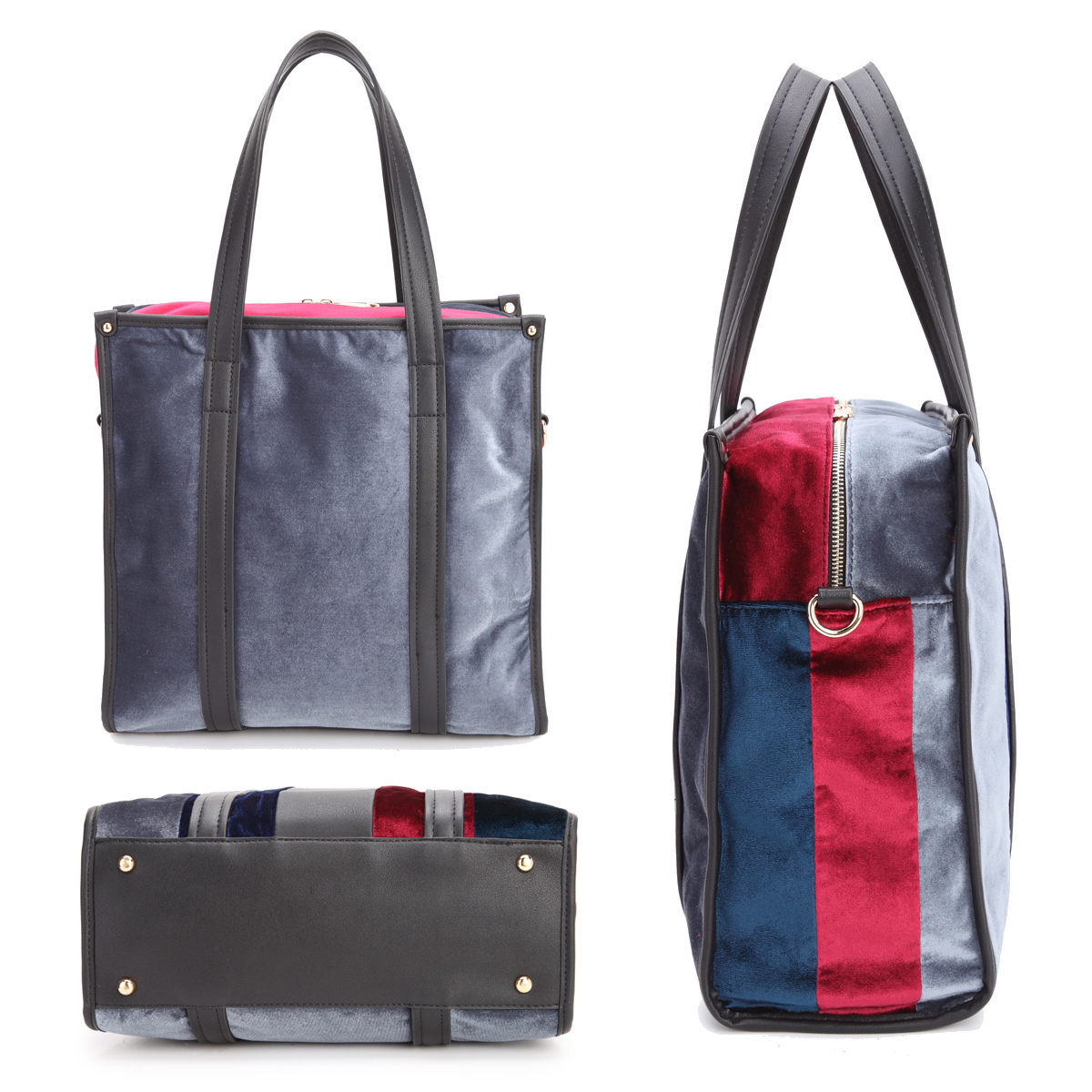 Dasein® Faux Leather Velvet Multi-Colored Large Tote