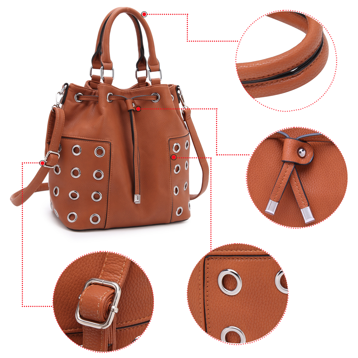 Dasein Faux Leather Drawstring Bucket Satchel with Grommet Design