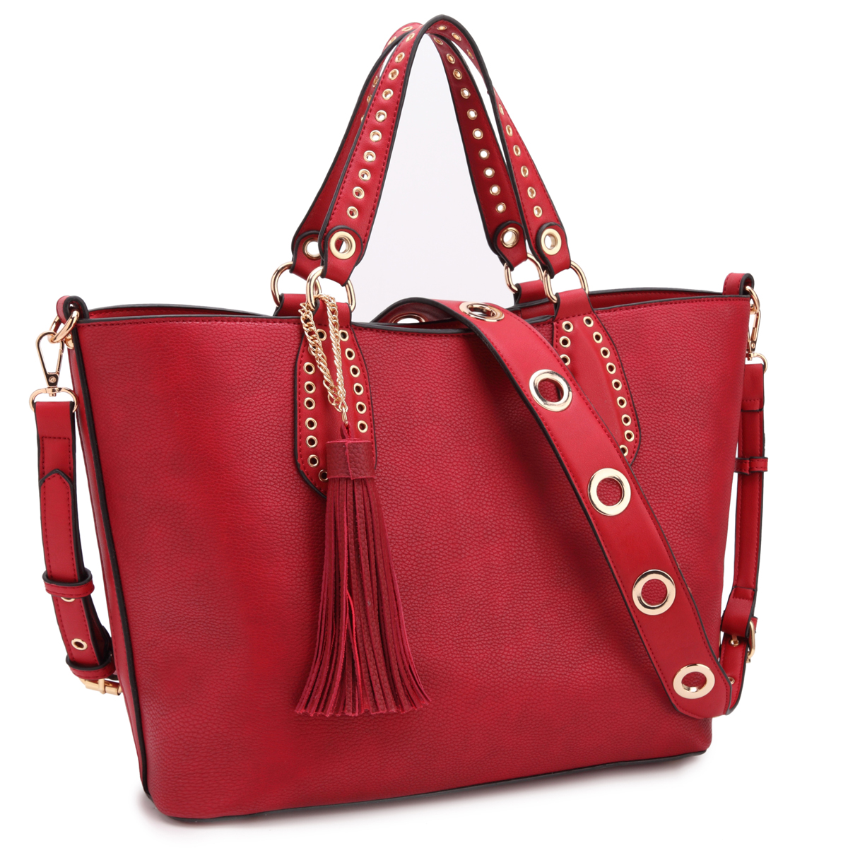 Dasein Classic Tote with Fringe Tassels and Grommet Design