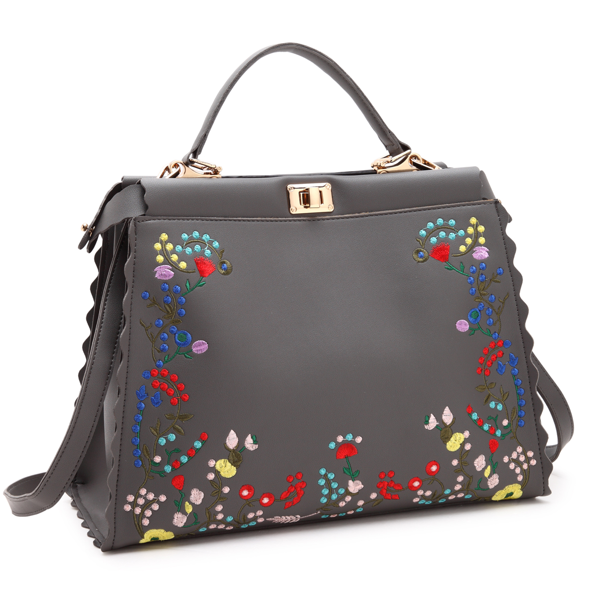 Dasein Hobo with Embroidered Flower Design and Double twist lock closure