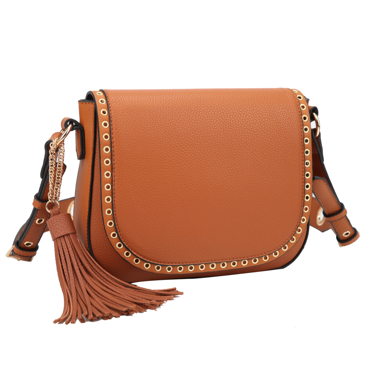 Front Flap Snap Closure Messenger Bag with Decorative Tassel and Grommet Design