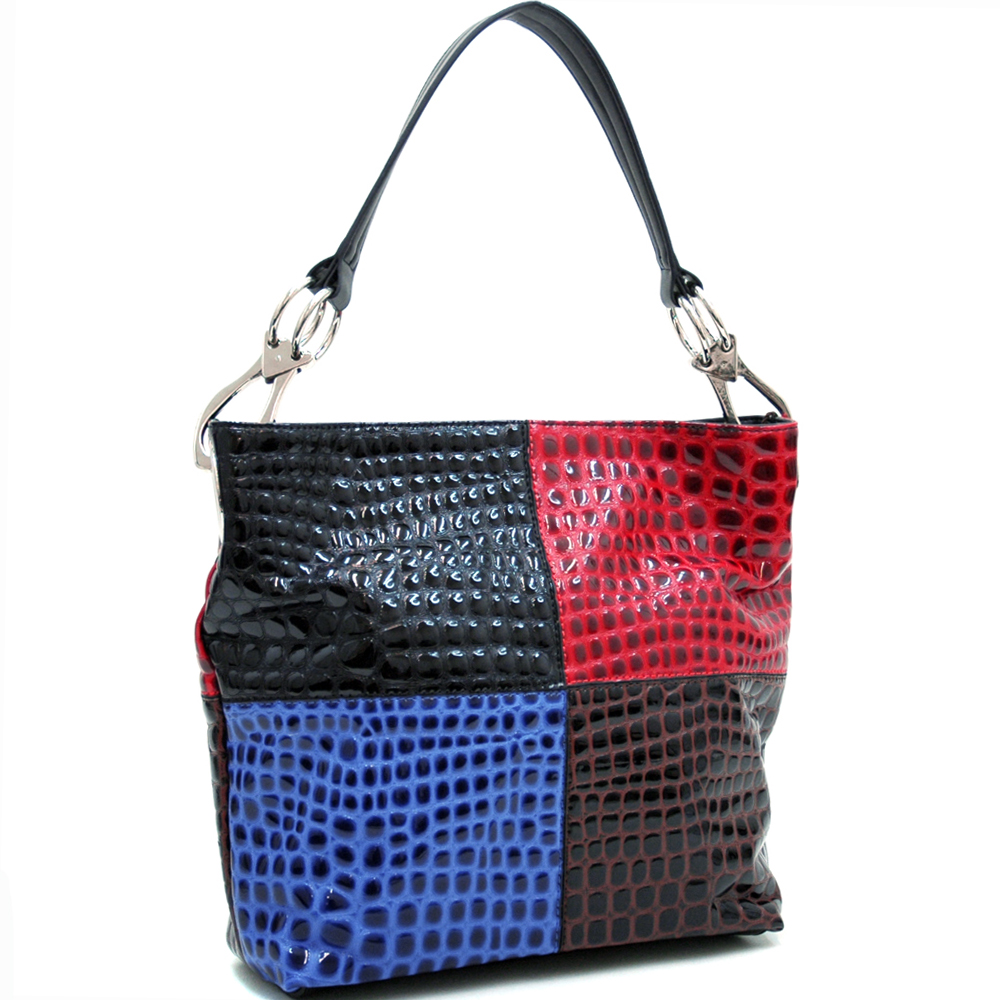 Dasein Faux Leather Woven Textured Hobo Bag