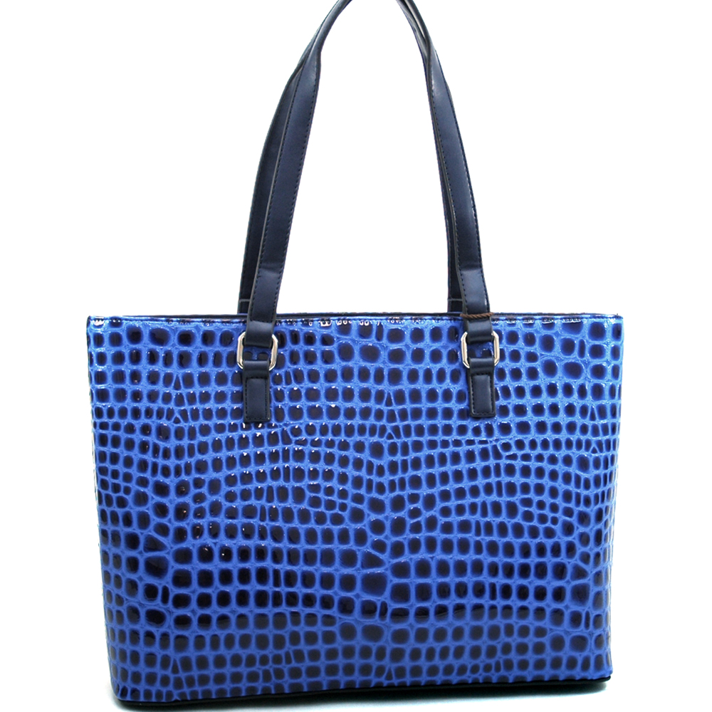Dasein Large Patent Croco Chic Fashion Tote