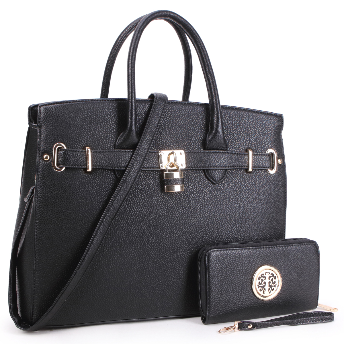 Dasein Faux Leather Satchel with Padlock with Matching Wallet