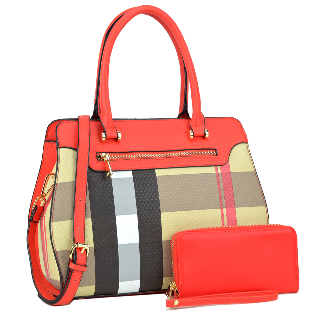 Plaid Design Faux Leather Medium Satchel with Matching Wallet
