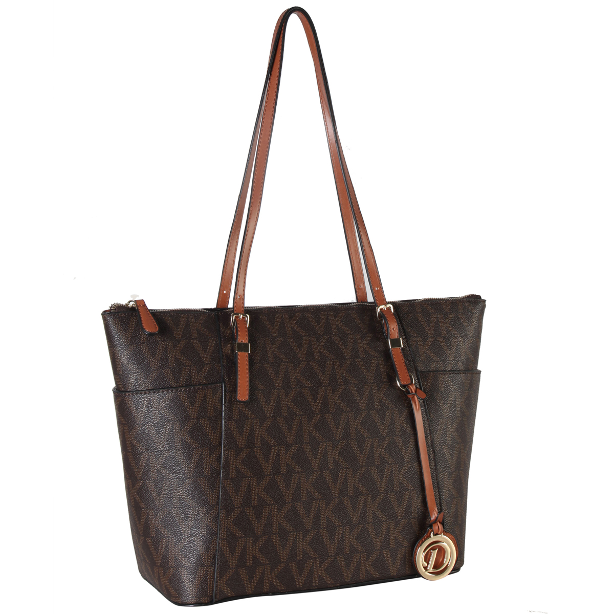 Monogram Faux Leather Belted Tote with Open Side Pockets