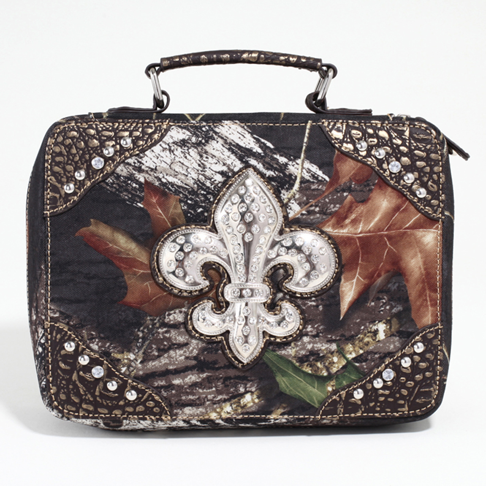 Mossy Oak® Studded Camouflage Travel/Business Bag w/ Rhinestone Fleur de Lis & Croco Trim