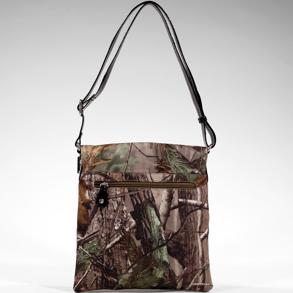Realtree ® Faux Leather Trim Amouflage Cross Body Bag w/ Flapover Top Snap Closure