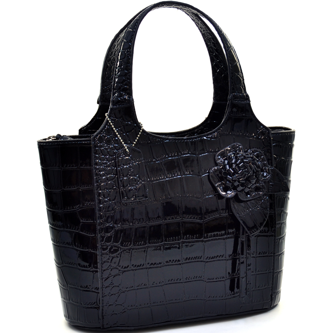 Dasein® Petite Patent Shine Croco Satchel With Floral Accent