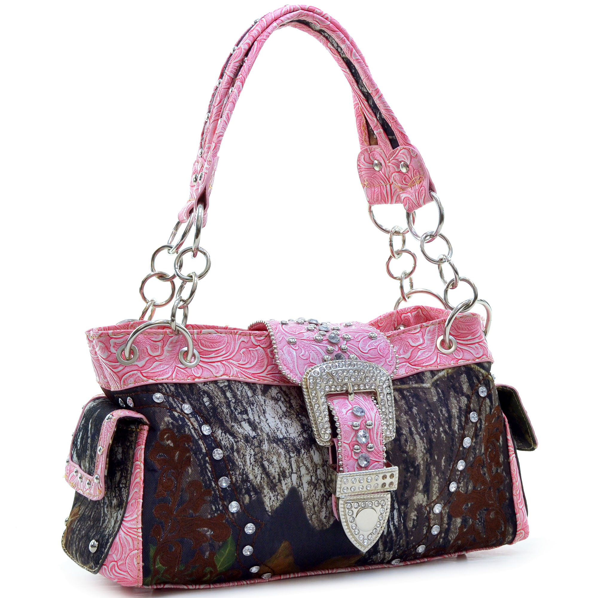 Mossy Oak® Faux Leather Floral Embroidered & Western Stitched Rhinestone Buckle Bag