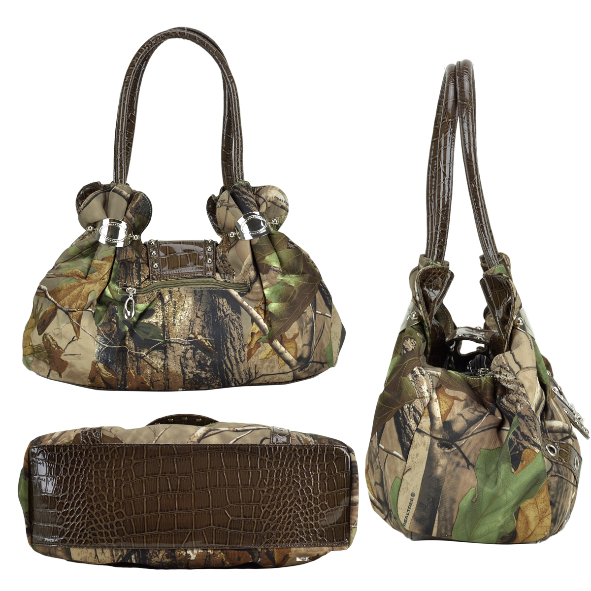 Dasein® Studded Satchel Bag in Realtree® Camo with Rhinestone Cross Ornament