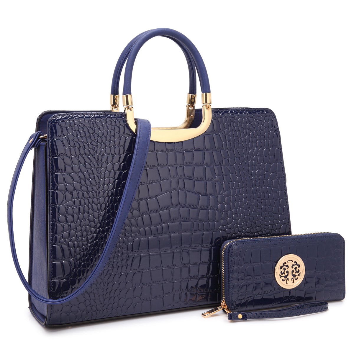 Dasein Patent Croco Print Briefcase with Matching Wallet