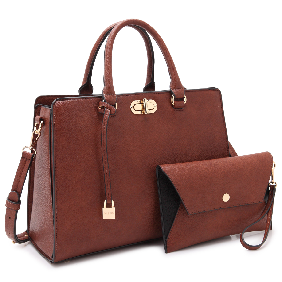 Dasein Faux Leather Satchel with Twist Lock  Front Compartment, Dangling Padlock deco, and with Matching Wristlet