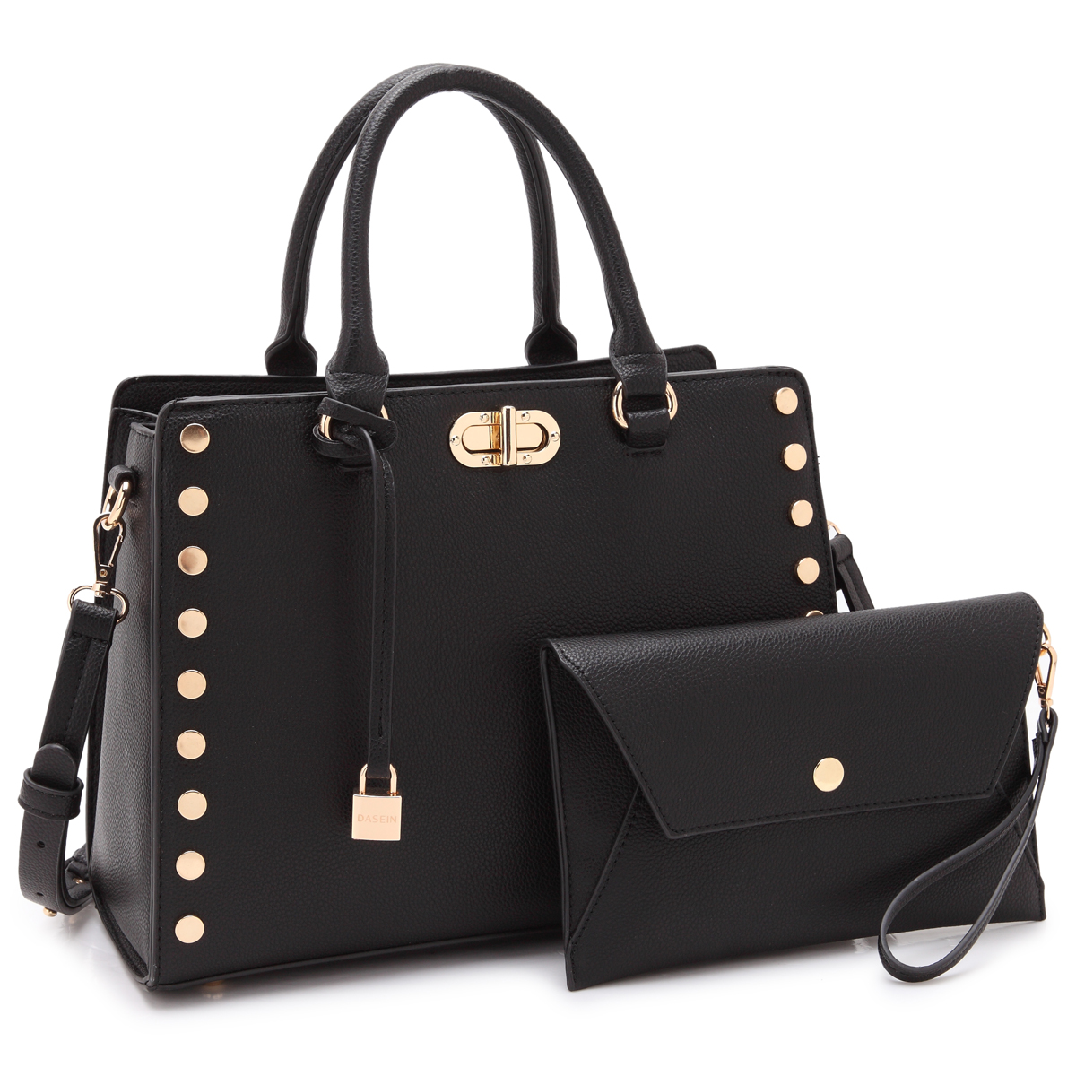 Dasein Faux Leather Satchel with Twist Lock Front Compartment, Gold Studs on both sides, Dangling Padlock deco, and with Matching Wristlet